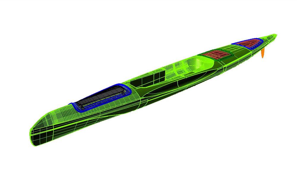 progetto canoa kayak design in cad 3D disegno tecnico