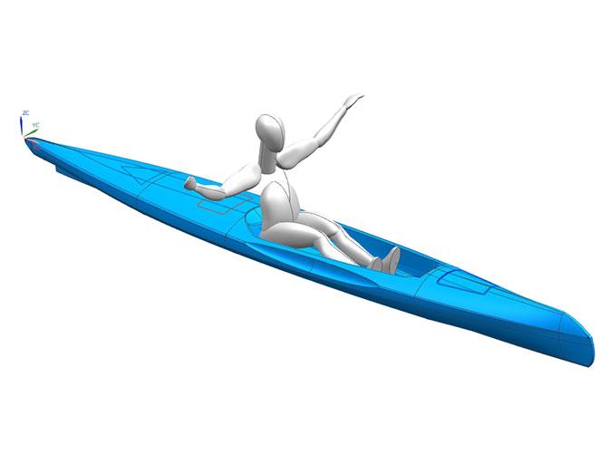Modello in 3D cad canoa con oscar