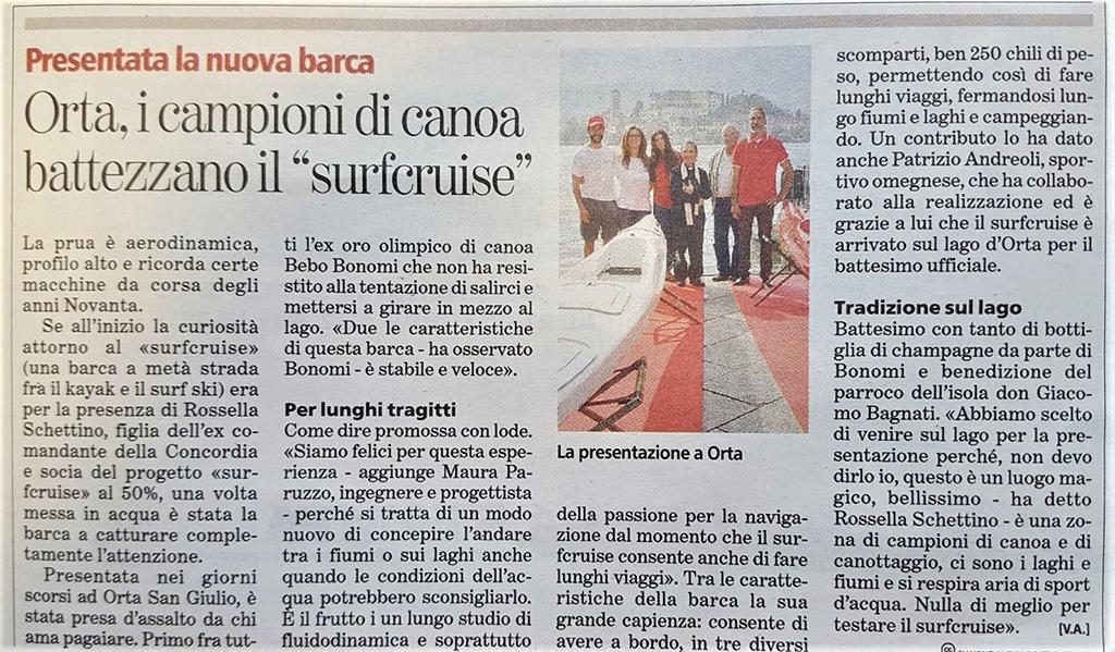 giornale Stampa notizia canoa Surfcruise